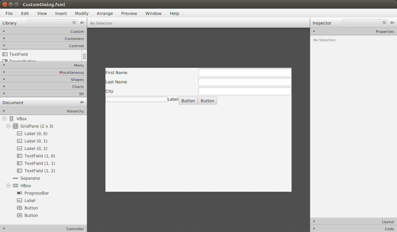 Bekwam Courses - Custom JavaFX Dialog Layout